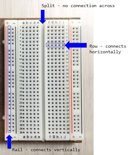 Solderless breadboard with parts labelled
